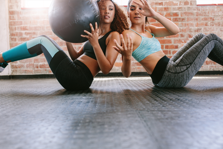 two women training