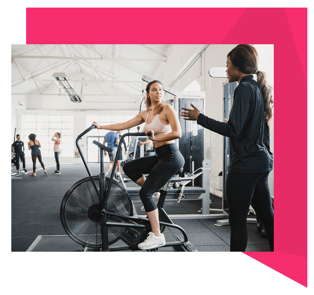 Women on cycling machine