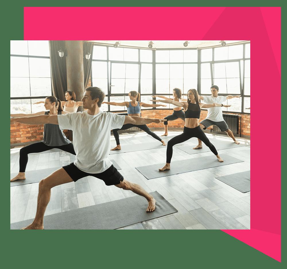yoga studio with students doing yoga